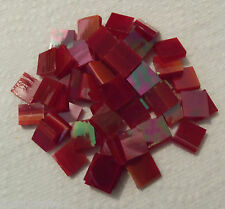 100 ct - 1/2 inch Iridescent Red White Wispy Spectrum Stained Glass Mosaic Tiles