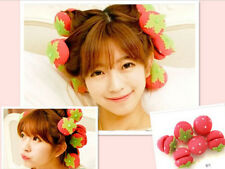 6x Women's Cute Strawberry Hair Care Foam Soft Round Sponge Ball Curlers Roller