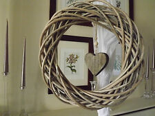 Natural Round Wicker Wreath with Wooden heart detail 40 x 40 cm
