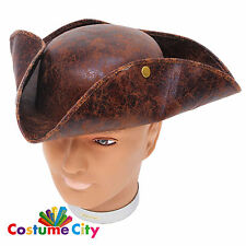 Adults Worn Pirate Tricorn Hat Buccaneer Halloween Fancy Dress Costume Accessory