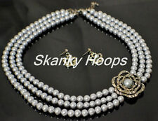 ELEGANT FLOWER CHARM TRIPLE  STRAND GRAY TONE PEARLS CHOCKER & EARRINGS