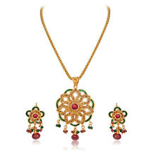 Round Shaped Rajasthani Polki Pendant Necklace & Earring Set PS41
