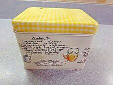 Vintage Antique Tea Empty Tin Box With Tea Recipes On Box