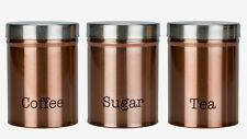 SET OF 3 COPPER TEA SUGAR COFFEE KITCHEN TIN CANISTERS Next Day Despatch
