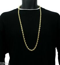 "14K Gold Plated Necklace Rope Chain 36"" Inch RUN DMC Dookie Big 8mm"