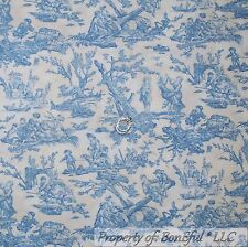 BonEful Fabric FQ Cotton Quilt Blue White Boy VTG Toile Central Park Scenic Tree