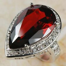 Awesome HUGE Garnet  White Topaz Ring 925 silver size  9