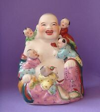 Antique Chinese Porcelain Figurine  Laughing Buddha w/ 5 Children  China  Statue