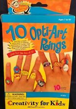 New Sealed 10 Opti-Art rings Craft Kits by Creativity For Kids #1445