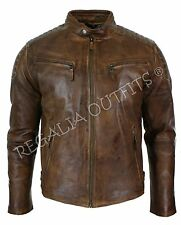 Vintage Brown Handmade Motorcycle Cafe Racer Distressed Real Leather Jacket Mens