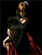 FLAMENCO DANCER PRINT SPANISH DANCE RED COSTUME FAN SEXY CANVAS ART