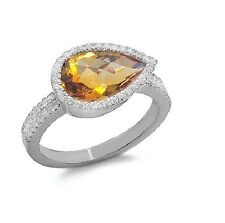 14K WHITE GOLD PAVE DIAMOND CITRINE PEAR CUT HALO COCKTAIL ENGAGEMENT RING
