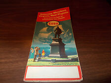 1957 Esso Delmarva Vintage Road Map / John Smith Monument at Jamestown on Cover