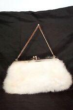 Vintage Genuine WHITE Rabbit REAL Fur Hand Bag CLUTCH (1920-1950 Era) VALENTINE