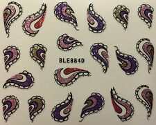 Nail Art 3D Decal Stickers Glittery Paisley BLE884D