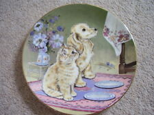 Royal Worcester England Porcelain cat-dog plate, Whats for Tea