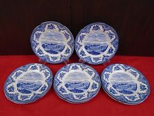 """Johnson Brothers Fine China OLD BRITAIN BLUE White Set of 8 Salad Plates 8-7/8"""""""