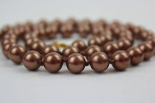 """Shell Pearl Copper Colour Beads 8mm 22"""" Hand Knotted 8 mm Copper Pearl Necklace"""