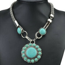 Multi Nature Turquoise VTG Tibet Silver Chain Bib Statement Necklace LCLT