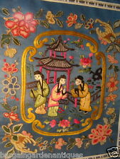 Vintage Silk Tapestry 3 Oriental Woman Pagoda Temple Wall Hanging Hotel Home