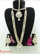 NUOVO Indiano Bollywood Bigiotteria Collana Set Oro Design WEDDING MODA