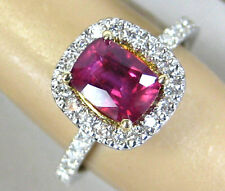 NATURAL Pink Sapphire Ring Antique 14K white gold 2.01ct CERTIFIED App $4,991.63