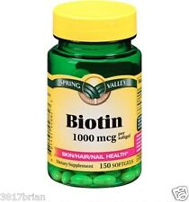Spring Valley Biotin 1000mcg 150 Softgels Skin Hair Nail Health Supplement