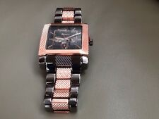 Square Face Black & Rosegold Colored Link Watch, Great Quality, Dressy, New!