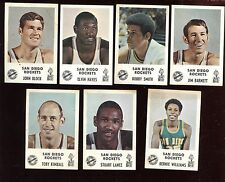 1968/69 San Diego Rockets Jack in the Box Card Lot 7 Different EX+