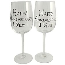 1st Year (One Year) Anniversary Gift Pair of Wine Glasses (Black/Silver)