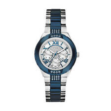 AUTHENTIC GUESS LADIES' VIVA WATCH SILVER & NAVY TONE W0413L1 Brand New SCRATCH*