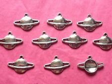 SILVER TONE PLANET CHARMS - 10 per pack - space/solar system
