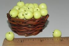 Apple Set of 15 on Straw Basket Dollhouse Food Market Diorama Made in Italy