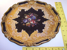 Mita ~ Italy ~ hand painted/decorated ~ Wood Plate ~ Floral Design