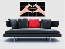 "I LOVE TECHNO BORDERLESS MOSAIC TILE WALL POSTER 35"" x 25"" ELECTRO EDM"