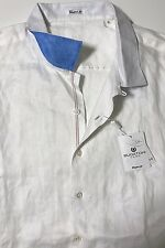 NWT BUGATCHI UOMO Men's WHITE LINEN S/S SHAPED FIT SPORT SHIRT Size 3XL