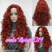 Fashion Sexy Ladies Long Dark Red Wavy Curly Cosplay Party Wigs + Wig Cap