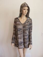 ARMY CAMOUFLAGE GRAY HOODIE LONG SLEEVE TUNIC SWEATER TOP WOMAN SIZE S