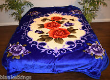 KOREAN MINK QUEEN 2 ply Reversible BLANKET Soft Plush Throw FLOWERS Floral