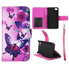 For Iphone 4 4S Wallet Butterfly Pink Flower Cover Split Leather Case Uni