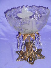ANTIQUE CRYSTAL BOWL COMPOTE BRASS STAND WITH CRYSTALS
