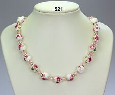 Pink flower green foliage & white porcelain necklace, crystals, silver chain 19""