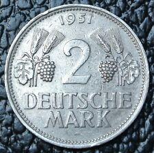 1951 D GERMANY - 2 DEUTSCHE MARK - Nice - RARE - SCARCE DATE