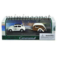 CARARAMA 12817 VW VOLKSWAGEN BEETLE #53 with CARAVAN III TRAILER 1/72 WHITE