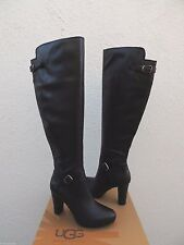 UGG TALL ADYSON BLACK LEATHER HIGH HEEL BUCKLE BOOTS, US 9/ EUR 40 ~ NEW