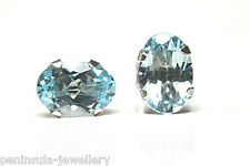 9ct White Gold Oval Blue Topaz Studs earrings Gift Boxed Made in UK