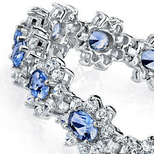 925 Sterling Silver Tanzanite Formal Cubic Zirconia Tennis Bracelet CZ Bridal