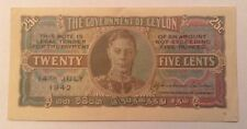 Ceylon Banknote. 25 Cents. Dated 1942.