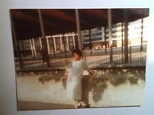 Vintage 80s Photo Black African Woman In Europe White Sweater White Dress & Hose
