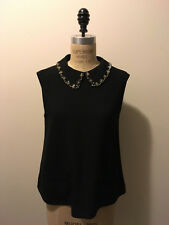 Miu Miu Size 40 IT Black Acetate Blouse Rhinestone Collar